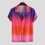 Оригинал Mens Gradient Color Лето с коротким рукавом классные рубашки