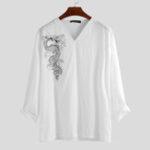 Оригинал Мужские футболки с длинным рукавом с v-образным вырезом с принтом Дракон