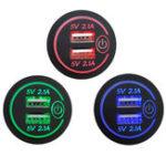 Оригинал P15-S Сенсорный выключатель с клеммой 2.1A + 2.1A Dual USB Авто Моторизованное Модифицированное зарядное устройство для мобильного телефона12-24V