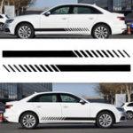 Оригинал Универсальный 2X Авто Racing Black Long Stripe Graphics Side Боковые наклейки на виниловые наклейки