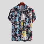 Оригинал Mens Ethnic Style Colorful Печатный с коротким рукавом Повседневная Рубашка