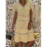 Оригинал Женщины Повседневная Pure Color V-образным вырезом с коротким рукавом Платье