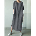 Оригинал Women Cotton Solid Color Loose Side Pockets Dress