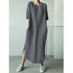 Оригинал Women Cotton Solid Color Loose Side Pockets Dress