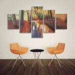 Оригинал 5 Шт. Современный Осенний Лес Печать Холст Картины Плакат Wall Art Picture Home Decor Без Рамы