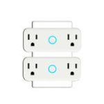 Оригинал MoesHouse 16A Mini Wi-Fi Smart Разъем US Стандартный разъем с двумя розетками Настенный выключатель Работайте с Amazon Alexa и Google Home
