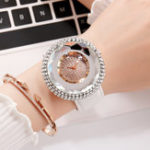 Оригинал DeffrunDiamondElegantДизайнКожаPU Женские наручные часы