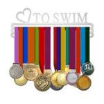 Оригинал Медаль 'LOVE TO SWIM' Вешалка Дисплей Держатель из матовой нержавеющей стали Провод 36 медалей Вешалка 32см Triple Bar