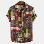 Оригинал Mens Fahion Colorful Шаблон Печатные этнические свободные рубашки