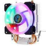 Оригинал CPU Cooler 2 Heatpipe 4-контактный RGB охлаждающий вентилятор для Intel 775/1150/1151/1155/1156/1366 AMD