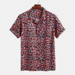 Оригинал Мужские красные леопардовые рубашки с короткими рукавами Revere