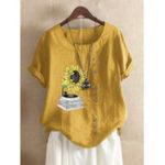 Оригинал Casual Print Sunflower O-neck Short Sleeve Button T-Shirts