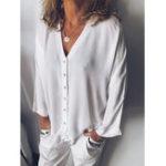 Оригинал Pure Color V-образным вырезом на пуговицах с длинным рукавом повседневная блуза