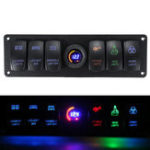 Оригинал 12V-24V 6 Gang LED Digital Voltmeter Marine Ignition Toggle Rocker Switch Panel
