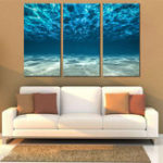 Оригинал Miico Hand Painted Three Combination Decorative Paintings Light Blue Seawater Wall Art For Home Decoration