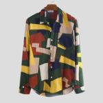 Оригинал Цветная печать с длинным рукавом с карманами повседневные рубашки