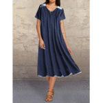 Оригинал Плюс Размер V-образным вырезом Splice Pocket Повседневный Платье