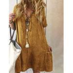 Оригинал Women Solid Color V-neck Short Sleeve Dress