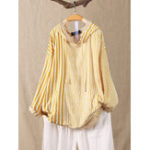 Оригинал Нерегулярная блузка с длинным рукавом в полоску с капюшоном