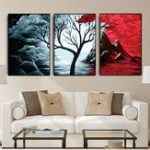 Оригинал Miico Hand Painted Three Combination Decorative Paintings Botanic Tree Wall Art For Home Decoration