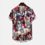Оригинал Мужская повседневная рубашка из 100% хлопка с коротким рукавом