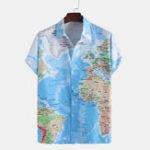 Оригинал Mens Fashion Map Печатные гавайские рубашки
