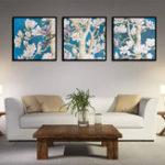 Оригинал Miico Hand Painted Three Combination Decorative Paintings Oak flower Wall Art For Home Decoration