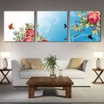 Оригинал Miico Hand Painted Three Combination Decorative Paintings Dancing Botanic Peony Flower Wall Art For Home Decoration