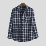 Оригинал Рубашки мужские в клетку 100% хлопок с длинным рукавом повседневные рубашки