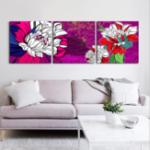 Оригинал Miico Ручная Роспись Три Комбинации Декоративные Картины Ботанический Лотос Wall Art Для Украшения Дома