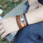 Оригинал Простой ретро костюм DIY плетеный кожаный мужской кожаный браслет