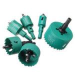 Оригинал 6pcs 22/30/35/45/50/65mm M42 HSS Hole Saw Cutter Green Metal Tip Drill For Aluminum Iron Wood