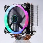 Оригинал Процессорный кулер, 4 тепловых трубки, 5 цветов, 120 мм, вентилятор охлаждения LED RGB для LGA 775 / 115X // 1366 драм