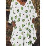 Оригинал Женские авокадо с принтом V-образным вырезом и боковыми карманами с рукавами 3/4 Платье