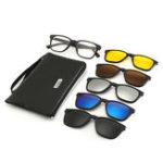 Оригинал 6 В 1 Ночного Видения Ретро Поляризованные Солнцезащитные Очки Вождения UV 400 Анти Блики Очки