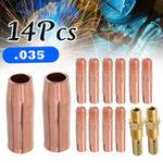 Оригинал 14шт 0,8 мм Медь MIG Сварочная горелка Набор для сварки 100 л G un для 0,03 дюйма Контактный наконечник Комплект держателя газовой насадки + Подключе