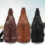 Оригинал Men Multifunctional Luxury Casual Daily Outdoor USB Chest Bag Shoulder Bag