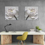 Оригинал Miico Hand Painted Combination Decorative Paintings Embossed lotus Wall Art For Home Decoration