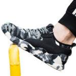 Оригинал TENGOO Steel Toe Мужская рабочая обувь Anti-Smashing Non-Slip Soft Рабочая обувь Пешие прогулки Кроссовки