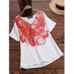 Оригинал Женская футболка с коротким рукавом с V-образным вырезом с цветочным принтом