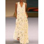 Оригинал V-образным вырезом без рукавов с V-образным вырезом и боковыми карманами Maxi Платье