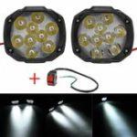 Оригинал 2шт 4/6/9 LED 9-85 В 10 Вт Черный мотоцикл Фары Мотоцикл Вождение Противотуманные фары Точечный свет + Переключатель