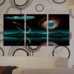 Оригинал Miico Ручная Роспись Три Комбинации Декоративные Картины Звездный Метеорит Wall Art Для Украшения Дома
