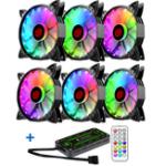 Оригинал Coolmoon 6PCS Регулируемый RGB Светодиодный Компьютер Чехол ПК Вентилятор охлаждения с Дистанционный