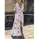 Оригинал Женская цветочная эластичная талия с высоким разрезом и длинным рукавом Платье