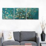 Оригинал Miico Hand Painted Three Combination Decorative Paintings Botanic Flower Wall Art For Home Decoration