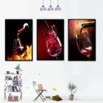 Оригинал Miico Hand Painted Three Combination Decorative Paintings Red W-ine Glass Wall Art For Home Decoration