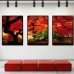 Оригинал Miico Hand Painted Three Combination Decorative Paintings Maple Tree Wall Art For Home Decoration