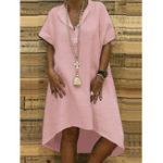 Оригинал Нерегулярные Подол V-образным вырезом с коротким рукавом сплошной цвет Повседневная Платье