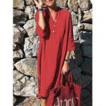 Оригинал Женская Pure Color Button Down V-образным вырезом с рукавом 3/4 Платье